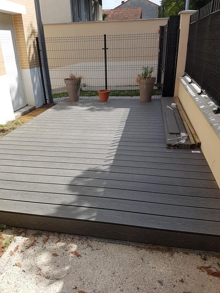 Création d'un plancher bois en extérieur